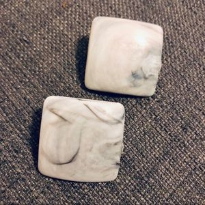 Jewelry - Vintage Square Marble Statement Earrings